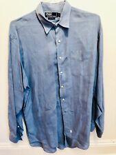 Mens Blue POLO Ralph Lauren 100% Linen Long Sleeve Shirt Size Large