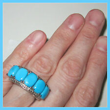 Sleeping Beauty Turquoise 7.52ct Diamond 5stone Ring Platinum over S Silver sz 8