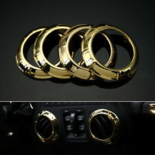 4x Gold Center Console Air AC Vent Outlet Trim Cover For Jeep Wrangler JK 11-16