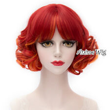 Lolita Red Mixed Yellow Short Curly Fashion Party Women Cosplay Wig + Wig Cap