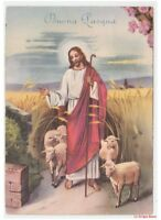Greeting Cards Religious Easter Card Vintage Jesus Flock the Pasture Sheaf Wheat