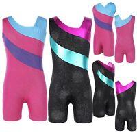 Kids Girls One-Piece Gymnastics Leotard Dress Sleeveless Ballet Dance Clothes