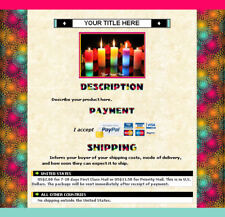AUCTION TEMPLATE Colorful Artsy Spirals Design Border - FREE Shipping