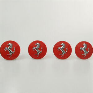 Ferrari 430 458 California  Red Centre Wheel Caps Set Sliver Horse Kit
