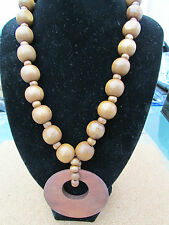 """A LARGE CHUNKY LIGHT WOODEN BEAD STRETCH NECKLACE. 20"""" + EARRINGS & BRACELET."""