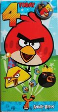 4 today Angry Birds Birthday card and badge, suitable for male or female, new