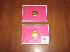 New 2 Pkgs.=12 Blank Notecards & Envelopes -Hot Pink/Gold Timepiece