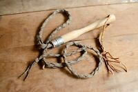 Vintage braided leather bull whip