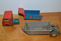 VINTAGE JAPANESE TIN LITHO DUMP TRUCK & TRAILER LOT METAL TOY CARS 1950'S 1960'S