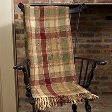 New Primitive Country Wine Red Green Brandywine Throw Afghan Blanket