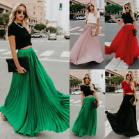 Women's Chiffon SKIRT Long Maxi High Waist Summer Pleated Beach Skirt Dress