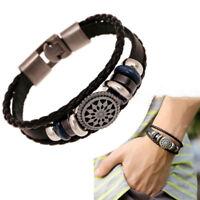 Women/Men Leather Cute Cool Braided Cuff Wrap Bracelet Jewelry Wristband Punk