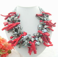 "19""  6  Strands Gray Pearl Red Coral Shell Necklace"