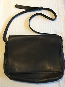 Monsac - Men's Black Leather Messenger Laptop Bag -Crossbody Expandable