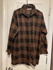 Newport News Brown Black Plaid Women's  Flannel Buttondown Tunic Shirt Size 1X