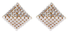 Clip On Earrings - rose gold plated stud with pearls & crystals - Betsy RG