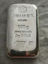 3x Unimet 100g Fine Silver Ag 999.0 Cast Bar  £100 each