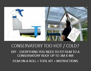 Conservatory Too Hot/Cold-DIY Kit-Everything You Need To Tint A 4m x 4m Roof
