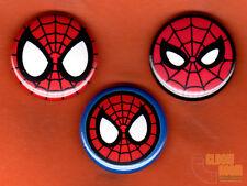 "Set of Three 1"" Spiderman Mask Pins Buttons Marvel Symbol Spider-man Spidey"