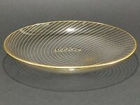 Vintage Clear Glass Gold Swirl Candy Dish Dessert Plate