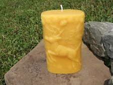 Hand Poured Beeswax Nature Pillar Candle All-Natural, Cotton Wick, Great Gift!