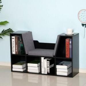 Black Reading Seat Bench Bookcase Kids Toys Organizer Chair Bedroom Furniture