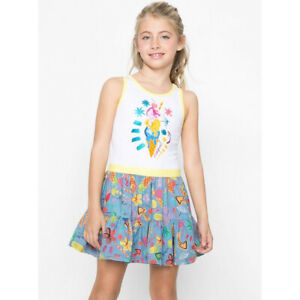 Desigual Girls Vest Summer Dress Floral & Ice Cream Print 11 12 13 14 years