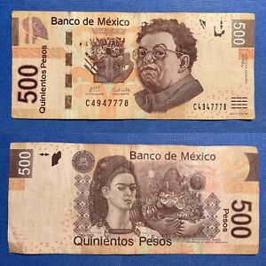 🍀 Lucky 777 Fancy Serial Number Frida $500 Mexican Peso Mexico P-126b.5 2010 F+