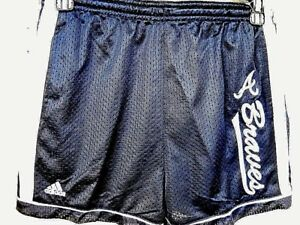 ATLANTA BRAVES UNISEX YOUTH MEDIUM SIZE 10-12 BLUE MESH SHORTS WITH EMBROIDERY *