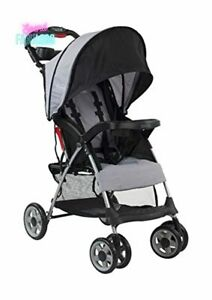Kolcraft Compact Travel Baby Stroller Easy Fold with 5 Point Harness Slate Grey