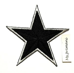 Embroidered Black Star Iron/Sew On Patch T Shirt Dress Coat Badge