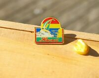 Hawaii Gold Tone Metal & Enamel Lapel Pin Pinback
