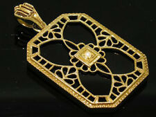 CP543 SUPERB 9ct SOLID Gold LARGE Natural ONYX & Pearl Pendant Antique style