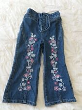 Mothercare Girl Vintage Denim Floral Embroider Jeans Size 3-4 Years