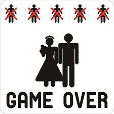 Just Married Game Over Drôle sticker autocollant étiquette en vinyle graphique