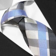 CRAVATE de Marque Française 100% SOIE Carreaux Noir / Bleu -Tie Black Cravatte