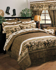 Wild Horses - Western Theme 4 Pc King Comforter Bedding Set - Cabin Ranch Lodge