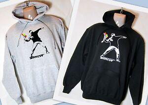 Kapuzen Hoodie Sweatshirt   * Banksy   Flowerthrower / Blumenwerfer    S - XXL