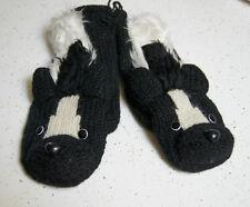 Honey BADGER MITTENS knit ADULT puppet gloves LINED deLux costume skunk badgers