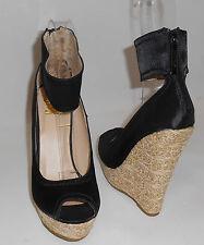 """Blacks 5.5""""Wedge 1.5"""" Platform ankle strap  high heel sandals shoes SIZE  8.5"""