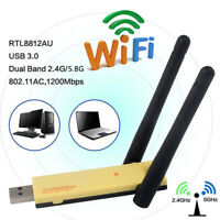 AC-1200Mbps USB 3.0 Dual Band Realtek RTL8812AU WiFi Adapter Antenna For PC