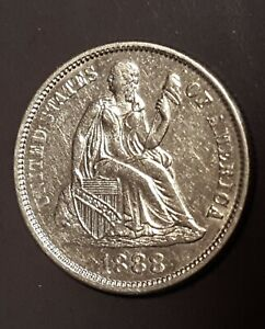 1888 Seated Liberty Silver Dime - Cleaned - No Reserve!