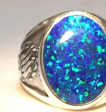 Black Fire bird Opal mens ring 10.5 Sterling Silver 925 Bear Claw 925 Heavy 16 g