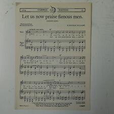 choral / vocal score LETS US NOW PRAISE FAMOUS MEN VAUGHAN WILLIAMS unison