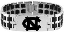 NORTH CAROLINA UNC TAR HEELS * Stainless Steel Rubber Link Bracelet w/Logo  NCAA