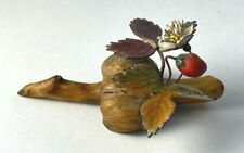 New listing Norman Brumm Enamel on Copper Sculpture Strawberry and Blossom on Burl Wood