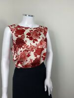 Laura Ashley Top UK 14 Red Rose Floral Tank Sleeveless Tunic Smart Stretch