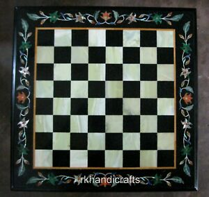 24 Inches Marble Coffee Table Top Black Stone Game Board Table Top for Hall Room
