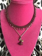 Betsey Johnson Vintage Brown Crochet Red Rose Pink Crystal Charm Choker Necklace