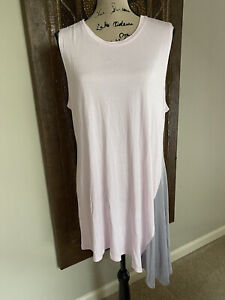 Lori Goldstein LOGO LAYERS PINK & GRAY COLORBLOCK ASYMMETRICAL HEM TANK TOP XL